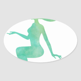 Mermaid watercolor oval sticker