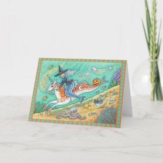 MERMAID WITCH, FANTASY MERHORSE GREETING CARD Blnk