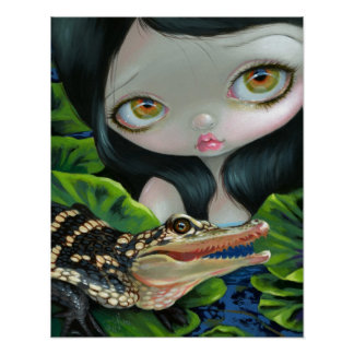 Mermaid with a Baby Alligator ART PRINT big eye