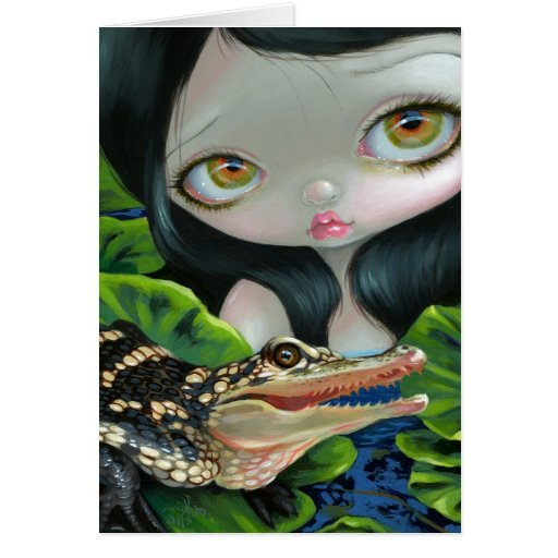"""""""Mermaid with a Baby Alligator"""" Greeting Card"""