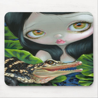 """""""Mermaid with a Baby Alligator"""" Mousepad"""