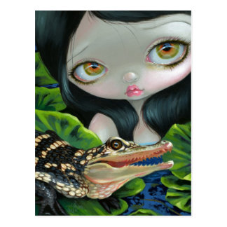 """Mermaid with a Baby Alligator"" Postcard"