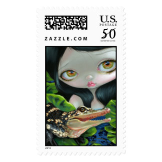 """""""Mermaid with a Baby Alligator"""" Stamp"""