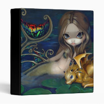 art, fantasy, mermaid, mermaids, dragon, dragonling, gold dragon, gold, golden, golden dragon, lily, pad, lilypad, waterlily, waterlilies, pond, pool, lily pad, lily pool, water, eye, eyes, big eye, big eyed, jasmine, becket-griffith, becket, griffith, jasmine becket-griffith, jasmin, strangeling, artist, goth, gothic, fairy, gothic fairy, faery, fairies, faerie, Fichário com design gráfico personalizado