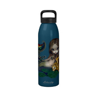 Mermaid with a Golden Dragon Bottle Reusable Water Bottle