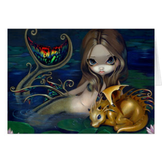 """Mermaid with a Golden Dragon"" Greeting Card"