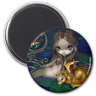 """Mermaid with a Golden Dragon"" Magnet"