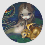 """Mermaid with a Golden Dragon"" Stciker Sticker"