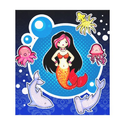 Mermaid with Attitude Cute Gothic Wrapped Canvas A Gallery Wrap Canvas