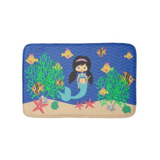 Mermaid With Black Hair Under The Sea Bath Mats