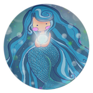 Mermaid with bright pearl  plate