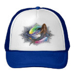 Mermaid with Colorful Fish Background Mesh Hat