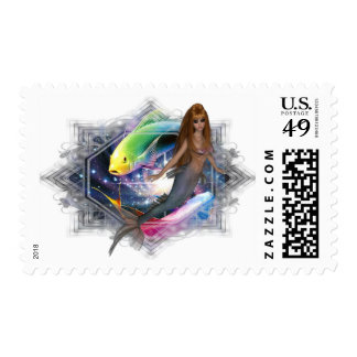 Mermaid with Colorful Fish Background Postage