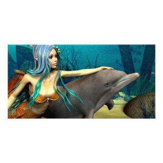 Mermaid with Dolphin Card