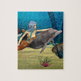 Mermaid with Dolphin Jigsaw Puzzle