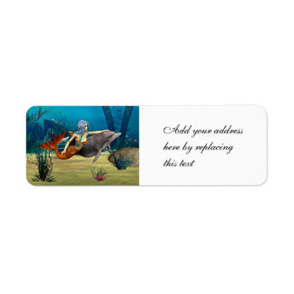 Mermaid with Dolphin Label