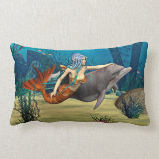 Mermaid with Dolphin Lumbar Pillow