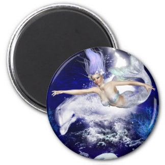 Mermaid with Dolphin Magnet Fridge Magnets
