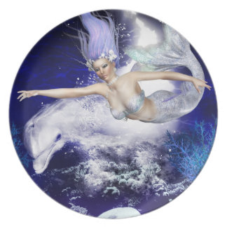 Mermaid with Dolphin Plate