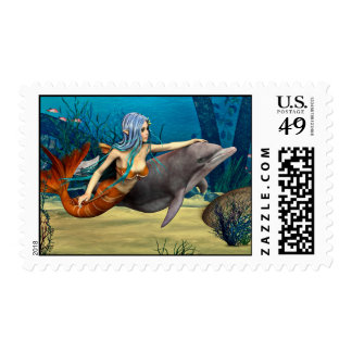 Mermaid with Dolphin Postage