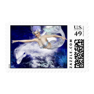 Mermaid with Dolphin Postage Stamp