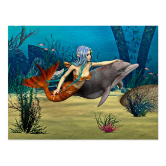 Mermaid with Dolphin Postcard
