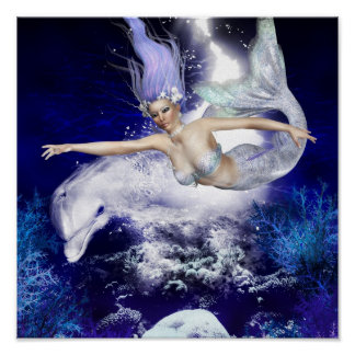 Mermaid with Dolphin  Poster