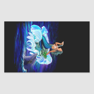 Mermaid with Dolphin Rectangular Sticker