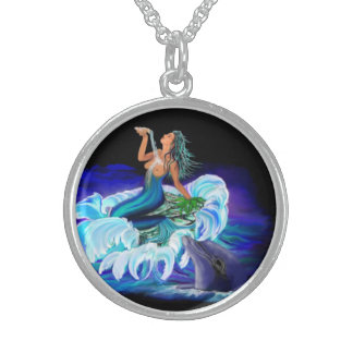 Mermaid with dolphin round pendant necklace