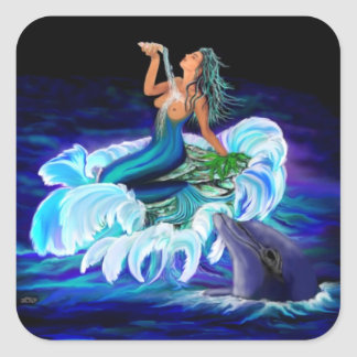 Mermaid with Dolphin Square Sticker
