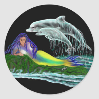 Mermaid with Dolphins Classic Round Sticker
