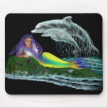 Mermaid with dolphins mouse pad