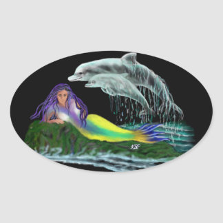 Mermaid with dolphins oval sticker