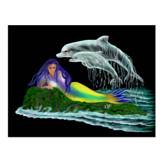 Mermaid with Dolphins Postcard