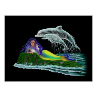Mermaid with Dolphins Poster