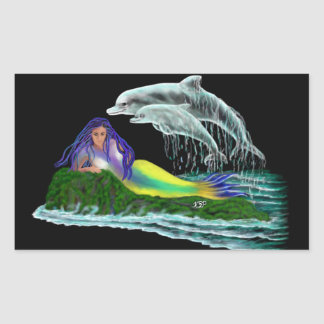 Mermaid with Dolphins Rectangular Sticker