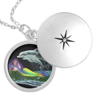 Mermaid with dolphins round locket necklace