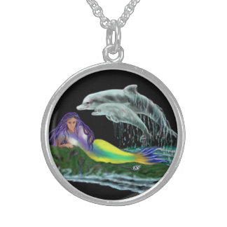 Mermaid with dolphins round pendant necklace