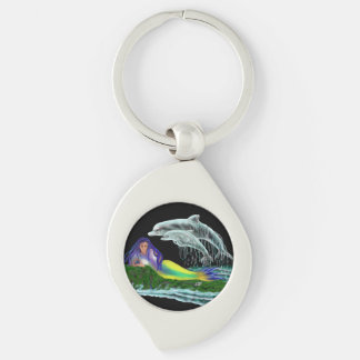 Mermaid with Dolphins Silver-Colored Swirl Metal Keychain