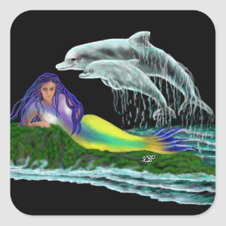 Mermaid with Dolphins Square Sticker