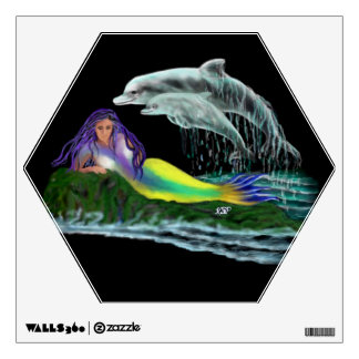 Mermaid with Dolphins Wall Sticker