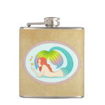 Mermaid with floating stars hip flask