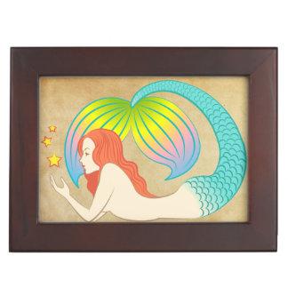 Mermaid with floating stars. keepsake box