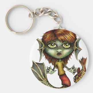 Mermaid with her Fish Friend Basic Round Button Keychain