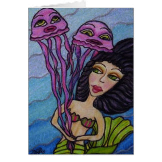 Mermaid With Jellyfish Thank You Card