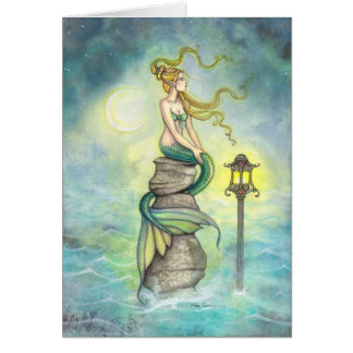 Mermaid with Lantern and Moon Fantasy Art Greeting Card