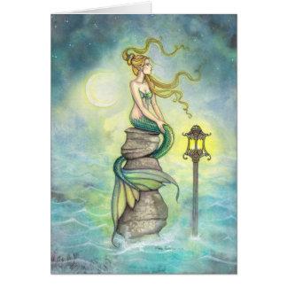 Mermaid with Lantern and Moon Fantasy Art Greeting Card