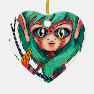 Mermaid with Large Eyes Ceramic Ornament