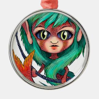 Mermaid with Large Eyes Metal Ornament