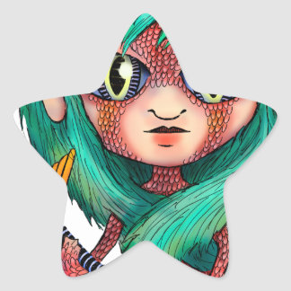 Mermaid with Large Eyes Star Sticker